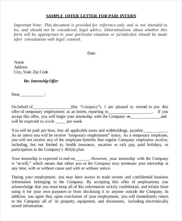 sample internship offer letter format - Gottayotti