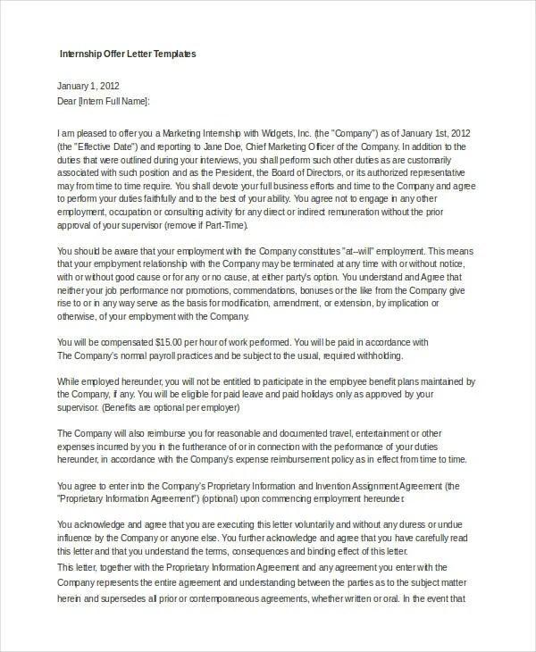 Internship Offer Letter Template - 7+ Free Word, PDF Format Download