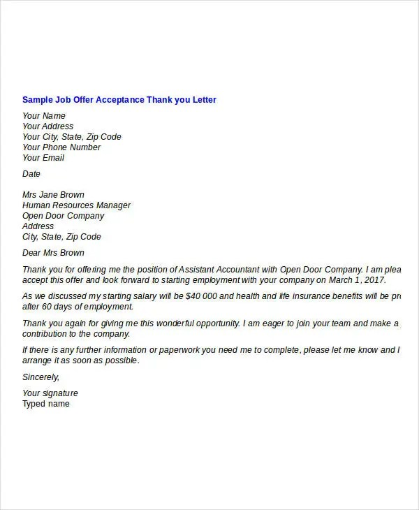 Job Offer Thank You Letter Template - 8+ Free Word, PDF Format - Thank You Note After Job Offer