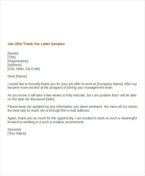 Job Offer Thank You Letter Template - 8+ Free Word, PDF Format
