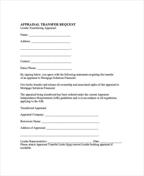 Appraisal Transfer Letter Template - 5 Free Word, PDF Format
