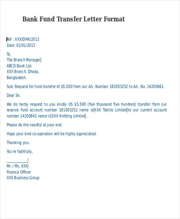 Fund Transfer Letter Template - 9+ Free Word, PDF Format Download - sample letter of request for payment arrangement