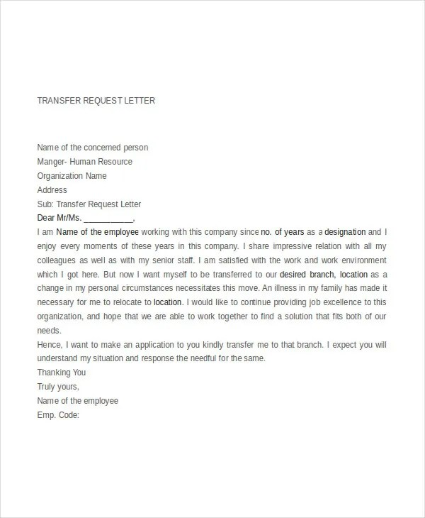 9+ Transfer Request Letter - PDF, DOC Free  Premium Templates - transfer request letter