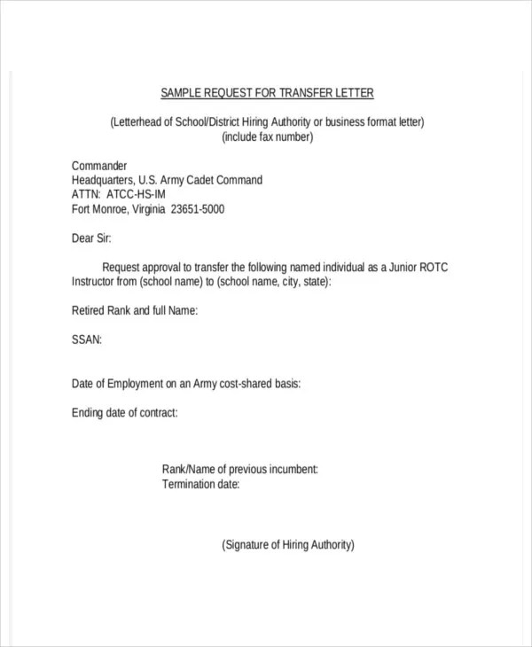 Company Transfer Letter Template - 6+ Free Word, PDF Format Download