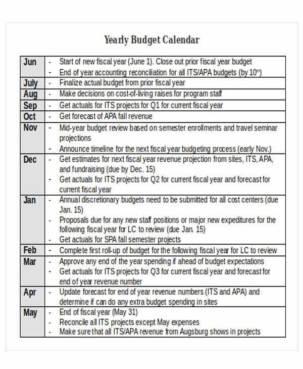 Budget Calendar Template Free  Premium Templates - sample budget calendar