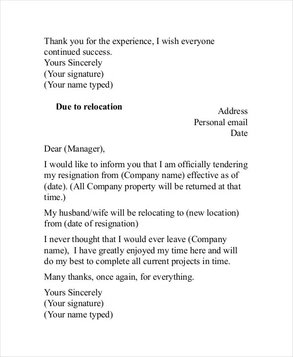 Template Letter Of Resignation From Employment. Basic Resignation