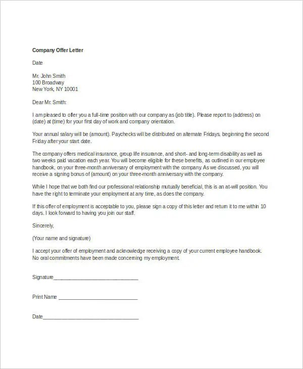 Company Offer Letter Template - 7+ Free Word, PDF Format Download - sample offer letters