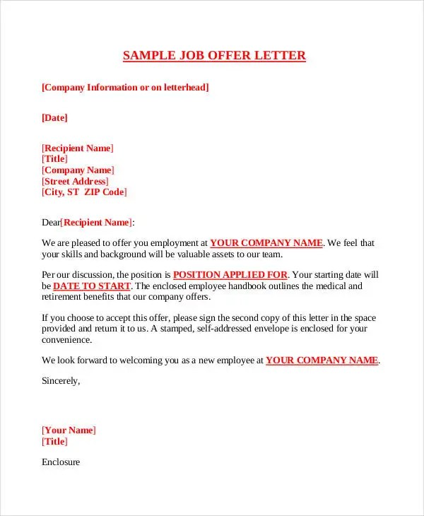 Company Offer Letter Template - 10+ Free Word, PDF Format Download