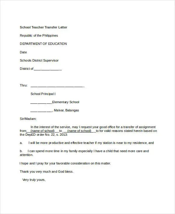 10+ School Transfer Letter Templates - PDF, DOC Free  Premium - assignment letter