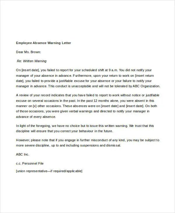 Written Warning Letter For Misconduct - Letter Idea 2018 - sample final notice letter