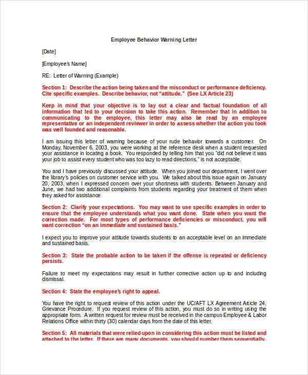 11+ Employee Warning Letter Template - PDF, DOC Free  Premium