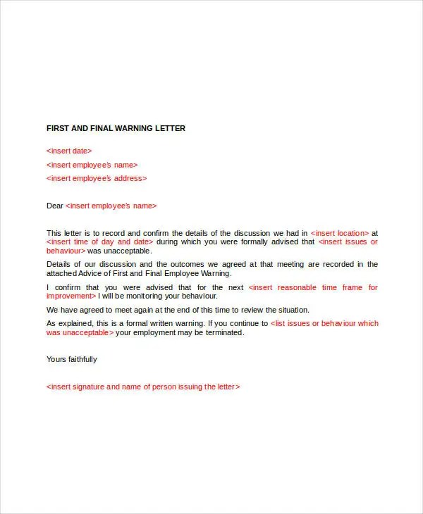11+ Employee Warning Letter Template - PDF, DOC Free  Premium - writing warning letter for employee conduct