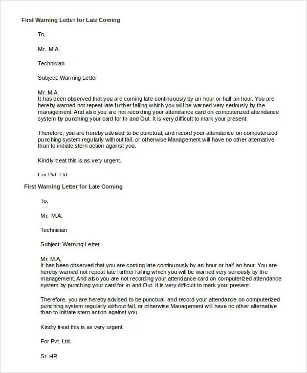 Appointment Letter Sample Format Zyxware Technologies First Warning Letter Templates 9 Free Word Pdf Format