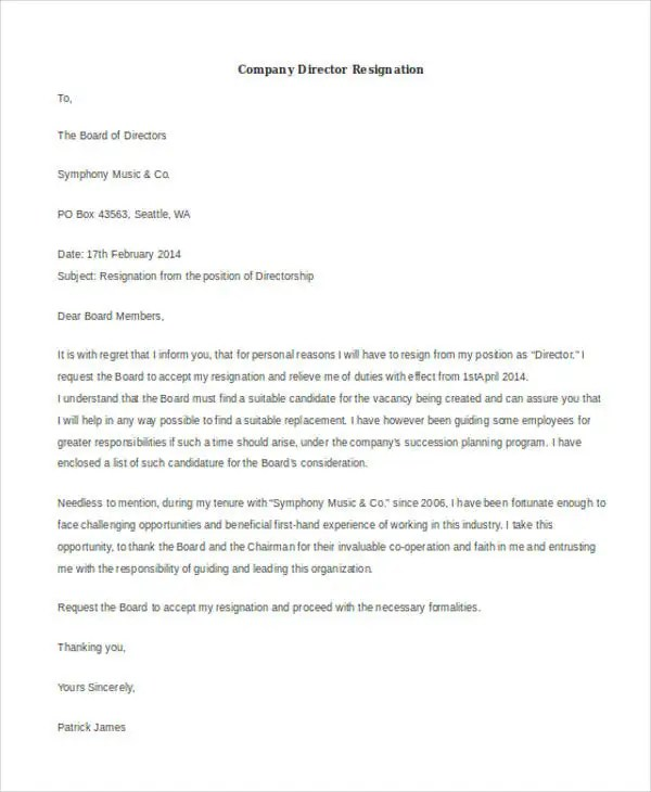 Resignation Letter Samples Download Pdf Doc Format 40 Resignation Letter Example Free And Premium Templates