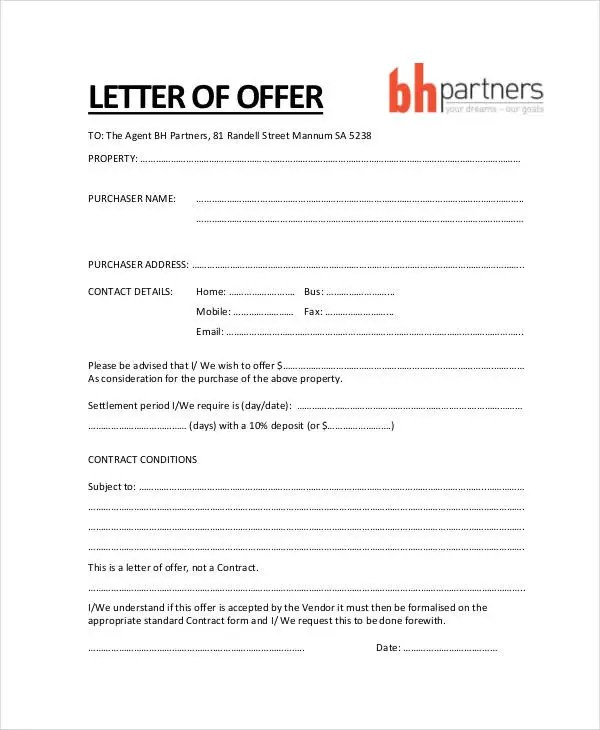 Property Offer Letter Templates - 10+ Free Word, PDF Format Download - offer letters