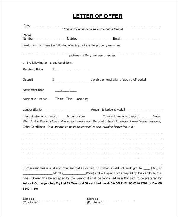 Property Offer Letter Templates - 7+ Free Word, PDF Format - real estate offer letter