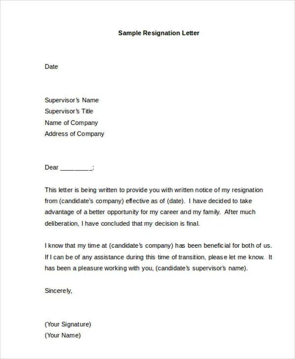 40+ Resignation Letter Example Free \ Premium Templates - sample resignation letters