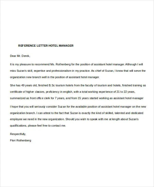 Manager Reference Letter Templates - 7+ Free Word Format Download