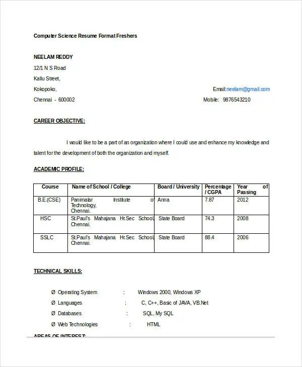 Resume Format For Computer Science Engineering Students Freshers Cv Sample For Engineering Freshers - Engineering Resume