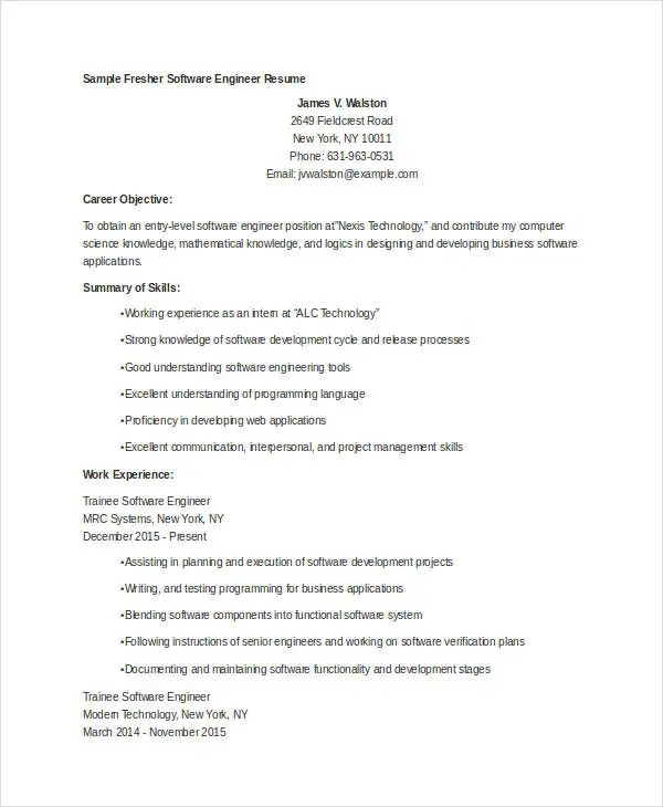 fresher resume sample for software engineer - Kubreeuforic