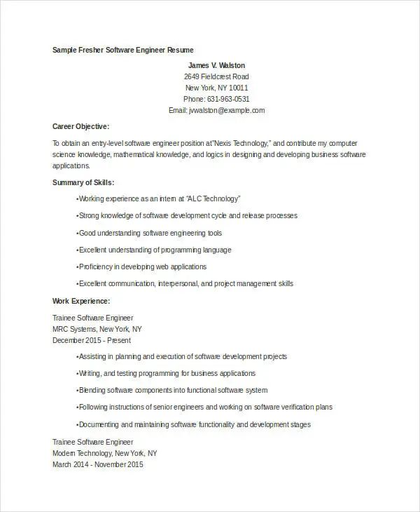 engineer resume templates docx