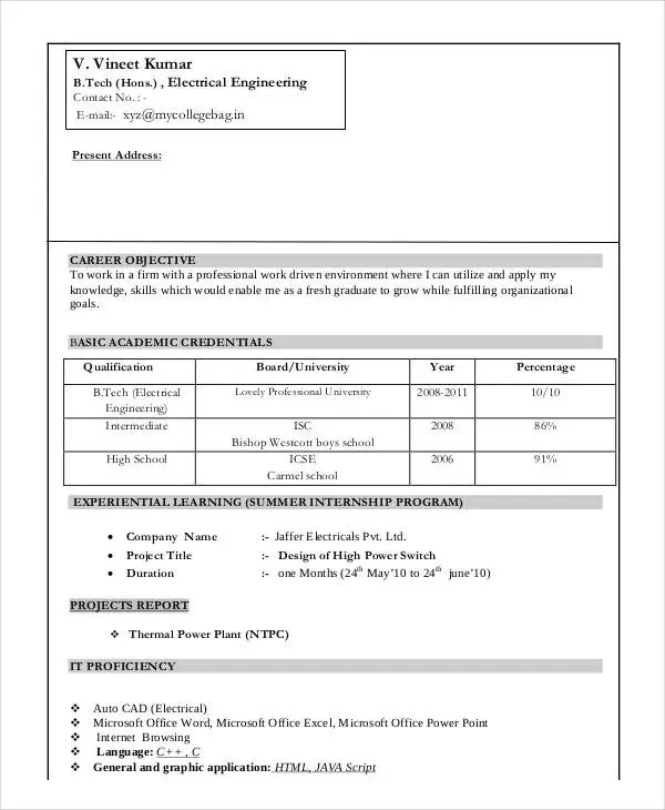 resume model for freshers engineers - Josemulinohouse - resume models for engineers