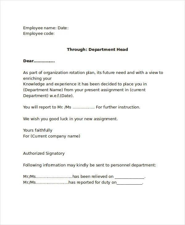10+ Internal Transfer Letters - PDF, DOC Free  Premium Templates - assignment letter