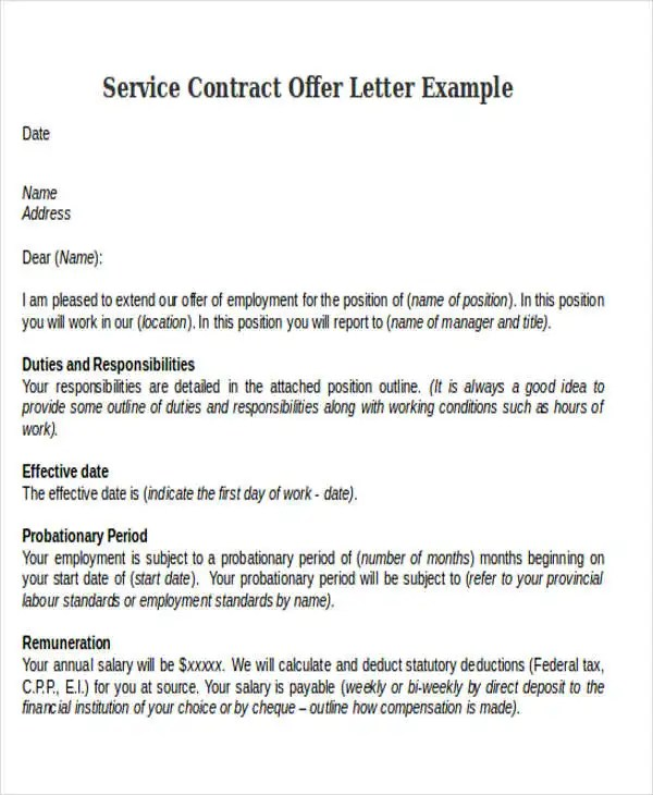 Contract Offer Letter Templates - 9+ Free Word, PDF Format Download - simple contract examples