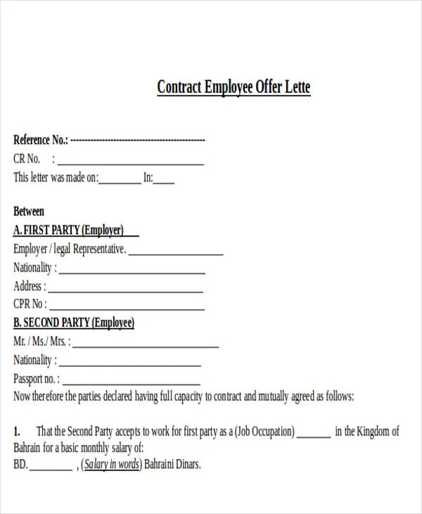 Contract Offer Letter Templates - 9+ Free Word, PDF Format Download