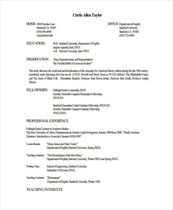 resume for lecturer post