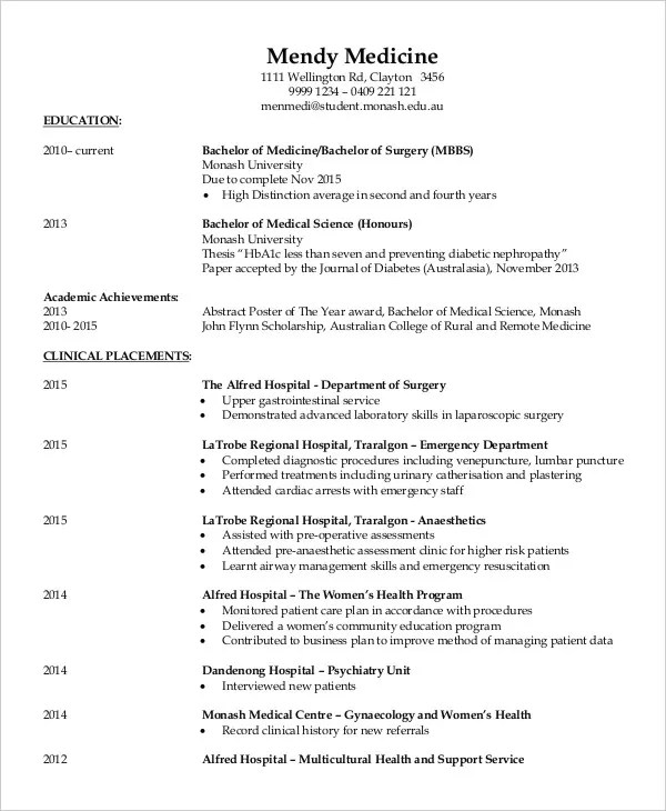 Fresher Doctor Resume - 3+ Free Word, PDF Documents Download - doctor resume