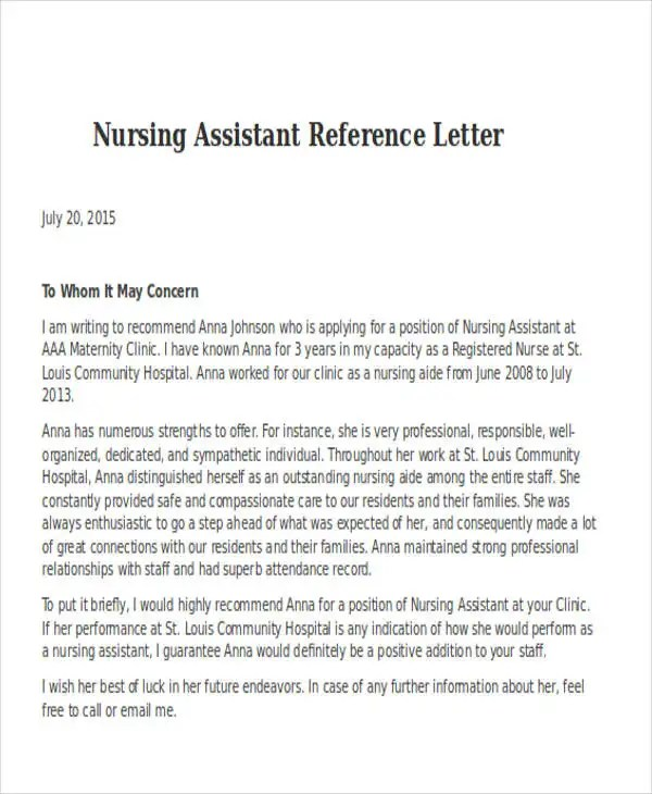 Nursing Reference Letter Templates - 12+ Free Word, PDF Format