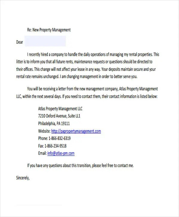7+ Property Transfer Letter Template - 7+ Free Word, PDF Format - rental management template