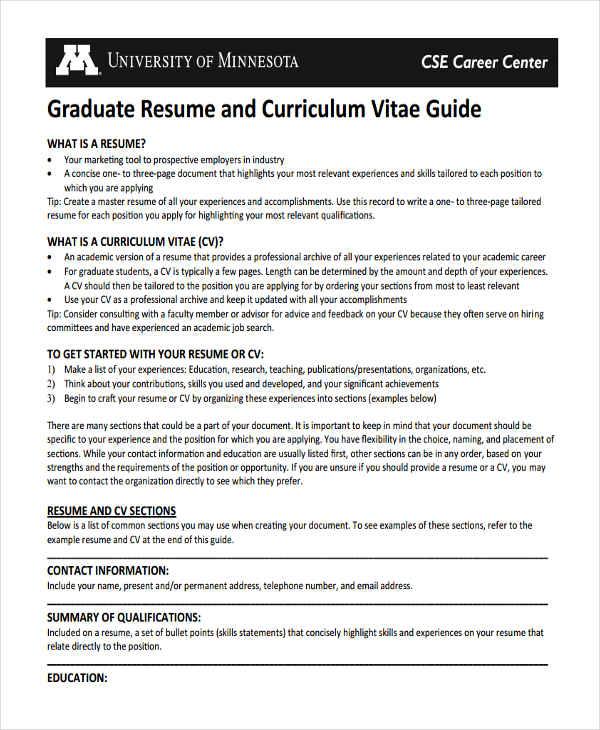 10+ Graduate Fresher Resume Templates - PDF, DOC Free  Premium