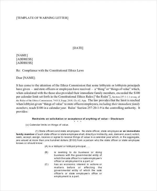 Company Warning Letter Template - 5+ Free Word, PDF Format Download