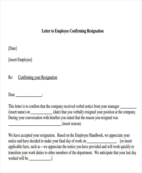 Acknowledgement Of Resignation Letter Template  Example Resume