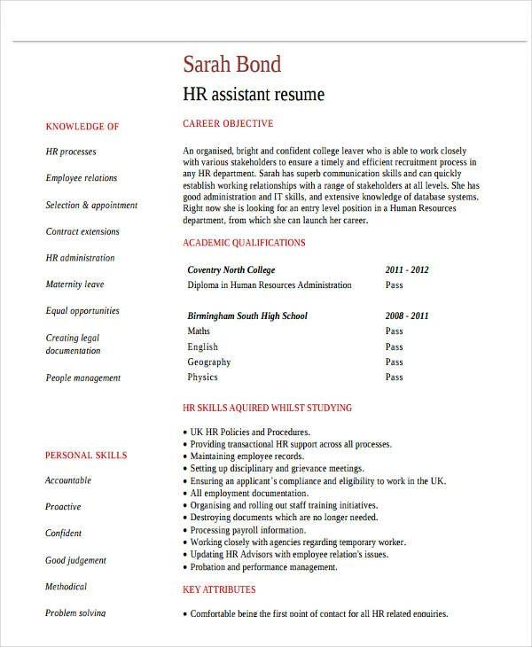 resume sample for graduate fresher