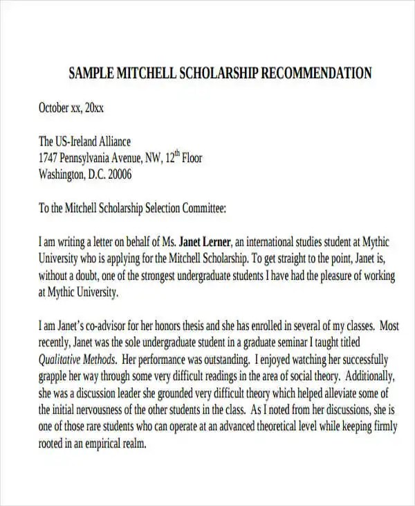 Scholarship Reference Letter Templates- 5+ Free Word, PDF Format