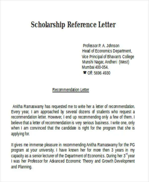Letter Of Recommendation For Scholarship - Clotrimazolhandkwebsite
