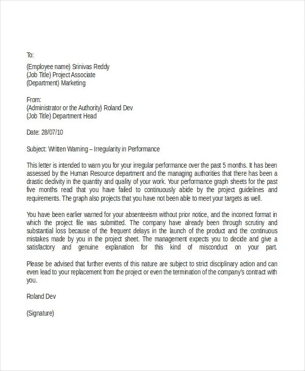 Professional Warning Letter Template - 6+ Free Word, PDF Documents - writing warning letter for employee conduct