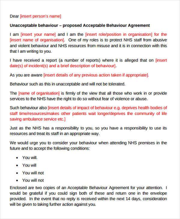 11+ Behavior Warning Letter Templates - DOC, PDF Free  Premium
