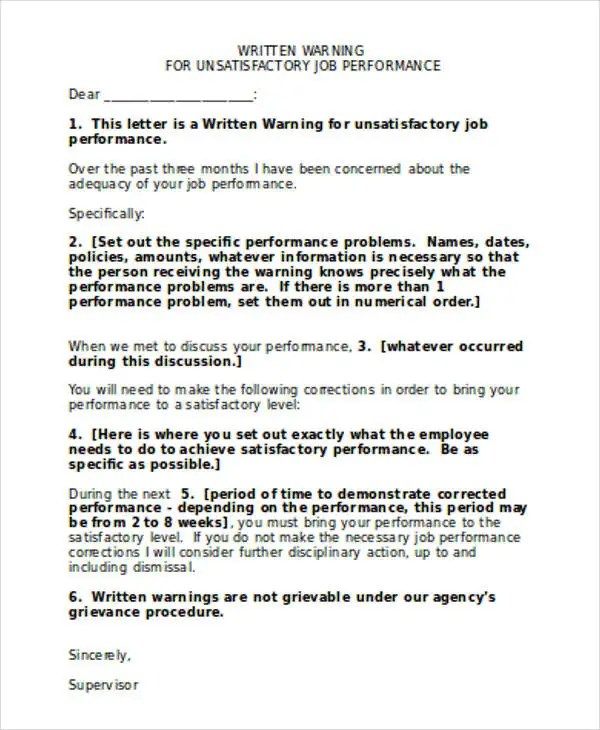 7+ Performance Warning Letter Template - 7+ Free Word, PDF Format