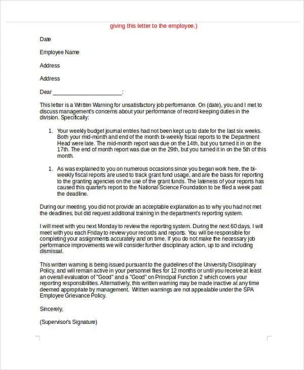 6+ Behavior Warning Letter Template - 6+ Free Word, PDF Format - writing warning letter for employee conduct