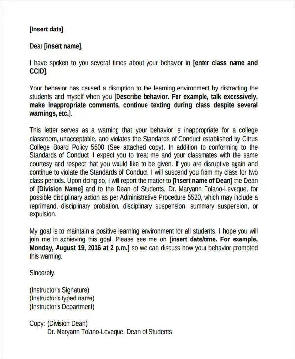 8+ Behavior Warning Letter Template - 6+ Free Word, PDF Format - writing warning letter for employee conduct