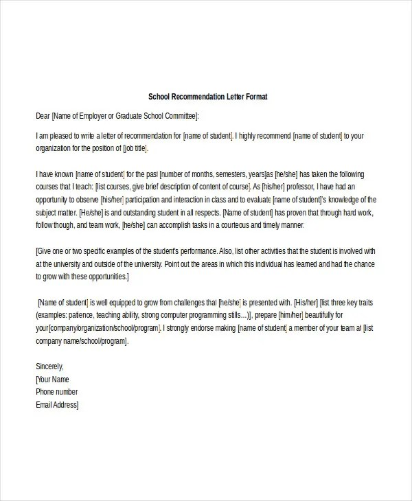 School Reference Letter Template - 7+ Free Word, PDF Documents