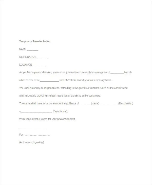 Employee Transfer Letter Template - 8+ Free Word Format Download - assignment letter
