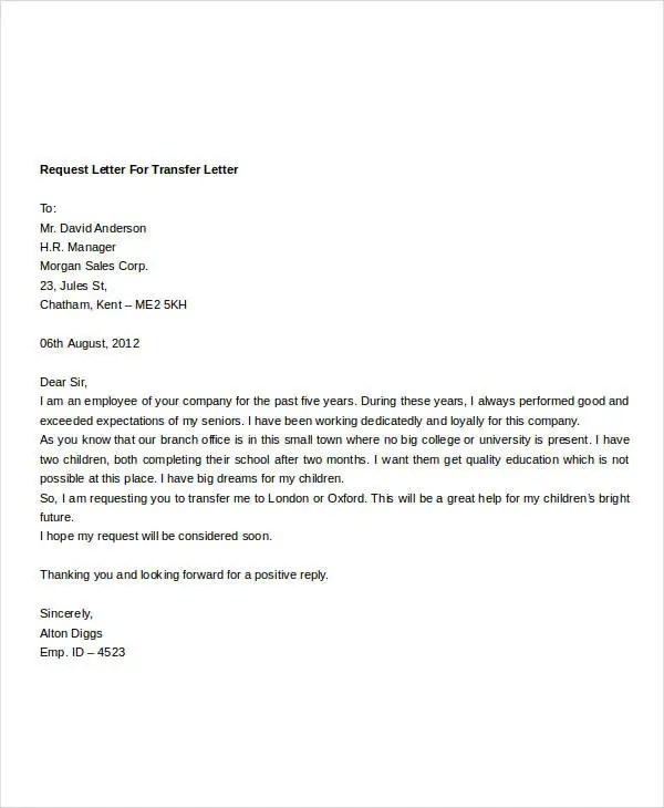 Employee Transfer Letter Template - 8+ Free Word Format Download - Employee Letter Templates