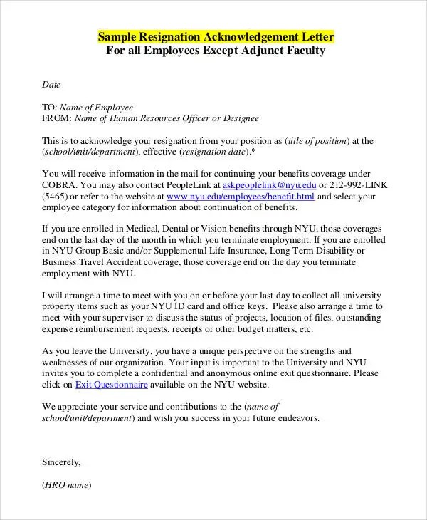 Employee Acknowledgement Letter Templates - 5+ Free Word, PDF Format