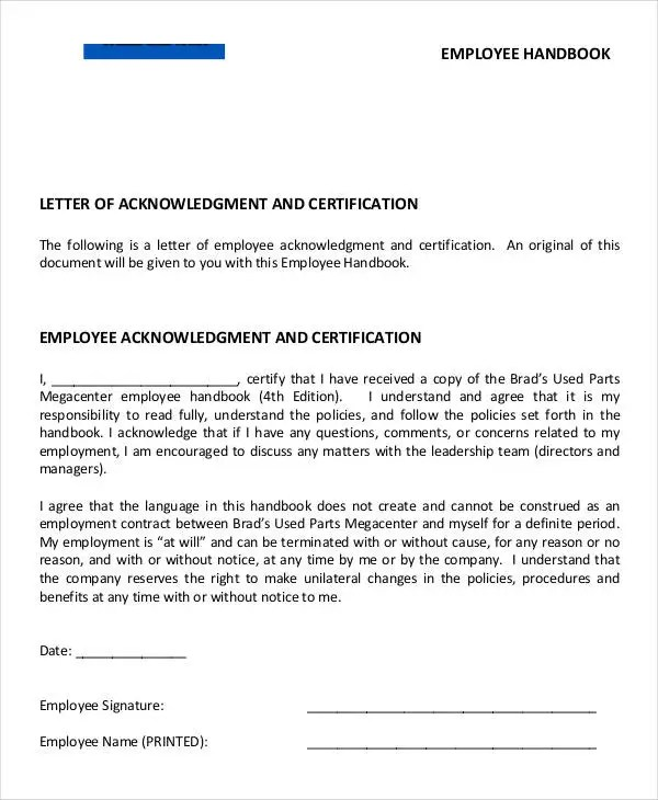 Employee Acknowledgement Letter Templates - 5+ Free Word, PDF - letter of employment