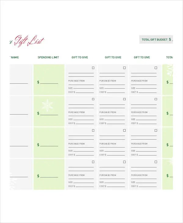 Holiday Gift List Templates - 9+ Free Word, PDF Format Download